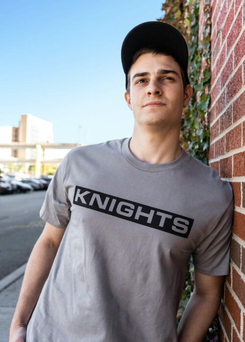 Block Letter T-Shirt - Grey, Lifestyle