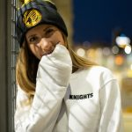 Pittsburgh Knights Emblem Beanie Embroidered Crewneck White Front Model
